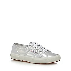 Superga - Silver metallic lace up trainers