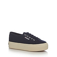 Superga - Navy high platform heel trainers