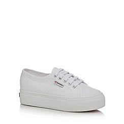 Superga - White canvas high platform heel trainers