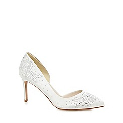 No. 1 Jenny Packham - White diamante 'Penny' high stiletto heel court shoes