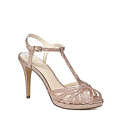 No. 1 Jenny Packham - Rose gold glitter 'Polly' high stiletto heel T-bar sandals