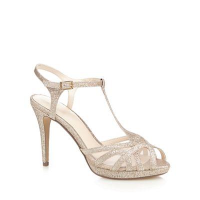 No. 1 Jenny Packham - Gold glitter 'Polly' high stiletto heel T-bar sandals