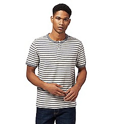 St George by Duffer - Big and tall natural striped grandad t-shirt