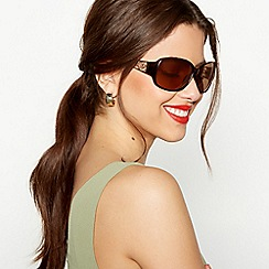 Beach Collection - Brown tortoiseshell filigree wrap sunglasses