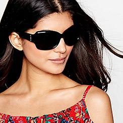 Debenhams - Black crystal temple wrap-around sunglasses