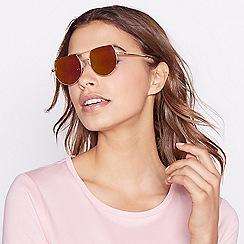 Red Herring - Pink semi-rimless metal sunglasses