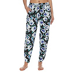 Beach Collection - Black pansy print drapey trousers