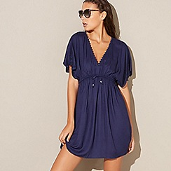 Beach Collection - Navy woven v-neck kaftan