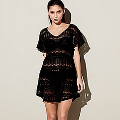 Beach Collection - Black crochet v-neck kaftan