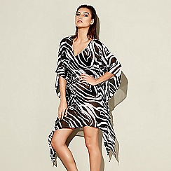 Beach Collection - Black zebra V-neck kaftan