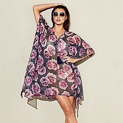 Beach Collection - Purple floral tile V-neck kaftan