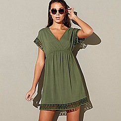 Mantaray - Khaki lace trim v-neck knee length kaftan