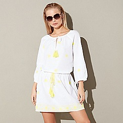 Mantaray - White embroidered cotton kaftan
