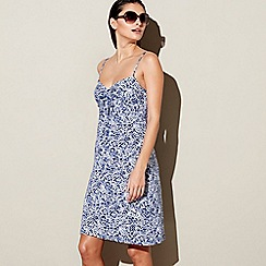 Mantaray - Navy wave print cotton V-neck kaftan dress