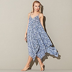 Mantaray - Navy wave print 'Coastal Palms' v-neck midi beach dress