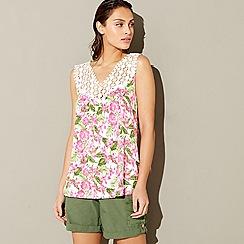 Mantaray - White sleeveless floral print crochet top