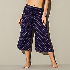 Beach Collection - Navy spot cropped trousers