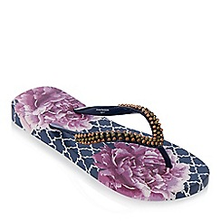 Beach Collection - Purple floral print flip flops