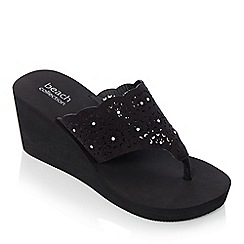 Beach Collection - Black laser cut wedge sandals