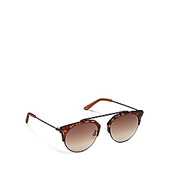 Pilgrim - Brown plastic 'Lotus' round sunglasses