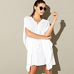 Beach Collection - White lace trim v-neck kaftan
