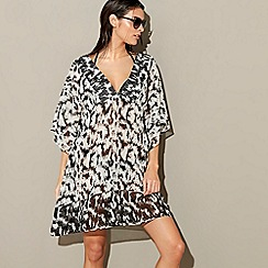 J by Jasper Conran - Black animal print v-neck kaftan