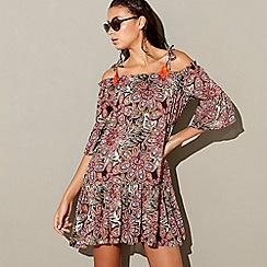 MW by Matthew Williamson - Multi-coloured paisley bardot neck mini beach dress