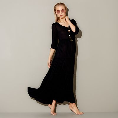 Mw By Matthew Williamson   Black Tiered Maxi Beach Dress by Mw By Matthew Williamson