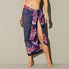 Beach Collection - Navy floral tile print sarong