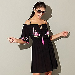 Floozie by Frost French - Black embroidered cold shoulder dress