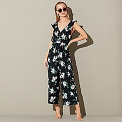 Red Herring - Black floral print jumpsuit