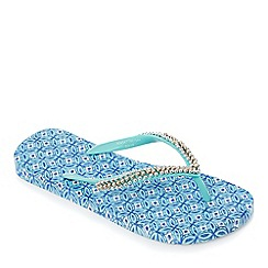Beach Collection - Blue Sicilian tile flip flops