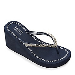 Beach Collection - Navy beaded wedge sandals