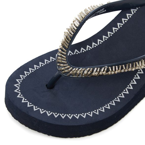 beaded Beach Navy Collection sandals wedge RR1WcUqrg