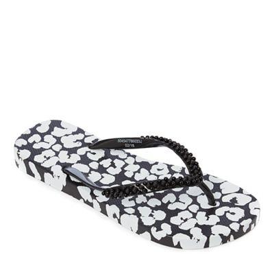 Beach Collection - Black leopard print flip flops