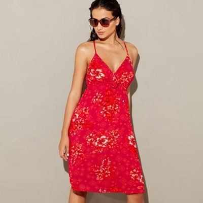 Mantaray   Red Floral Print 'wahine' V Neck Knee Length Beach Dress by Mantaray