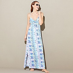 Mantaray - Blue geometric stripe print and V-neck full length maxi dress