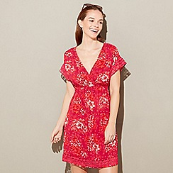Mantaray - Red floral printáV-neck short sleeve mini kaftan