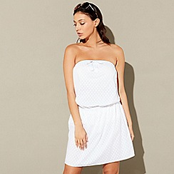 Beach Collection - White tassel bandeau dress