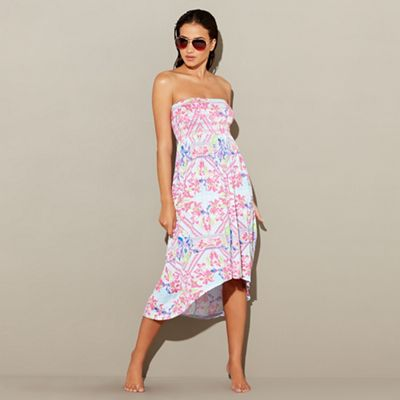 Mantaray   Multi Coloured Printed High Low Beach Dress by Mantaray