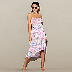 Mantaray - Multi-coloured printed high low beach dress