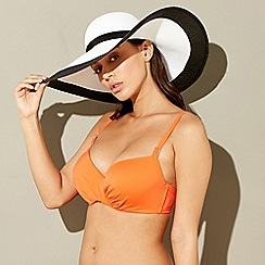 Beach Collection - Black and white floppy hat