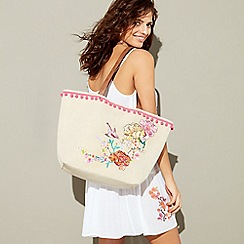 Floozie by Frost French - Natural floral embroidered straw shopper bag
