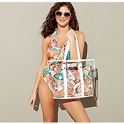 Floozie by Frost French - Coral butterfly print PU beach bag