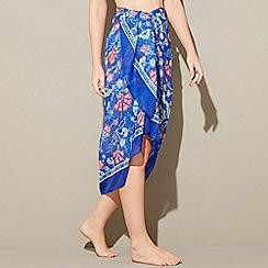Beach Collection - Blue floral print sarong