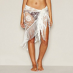 Red Herring - White floral embroidered sarong