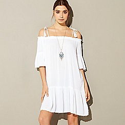 MW by Matthew Williamson - White embellished cold shoulder mini beach dress