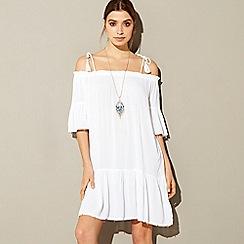 MW by Matthew Williamson - White embellished cold shoulder mini beach dress