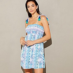 Mantaray - Light blue Aztec print 'Lanikai' bandeau mini beach dress