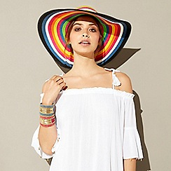 MW by Matthew Williamson - Multi striped straw floppy hat